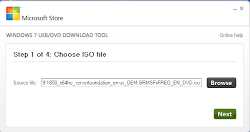 Microsoft's Windows 7 USB/DVD Download Tool