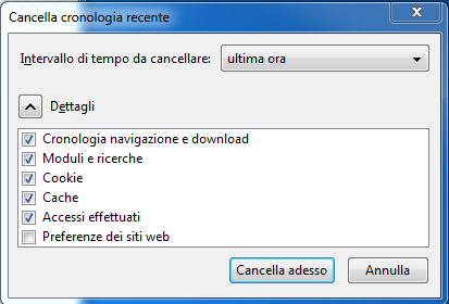 Cancellare cronologia Firefox